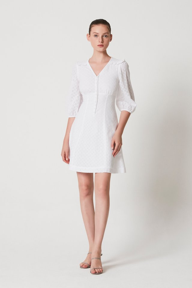 EMBROIDERY PUFF SLEEVE DRESS