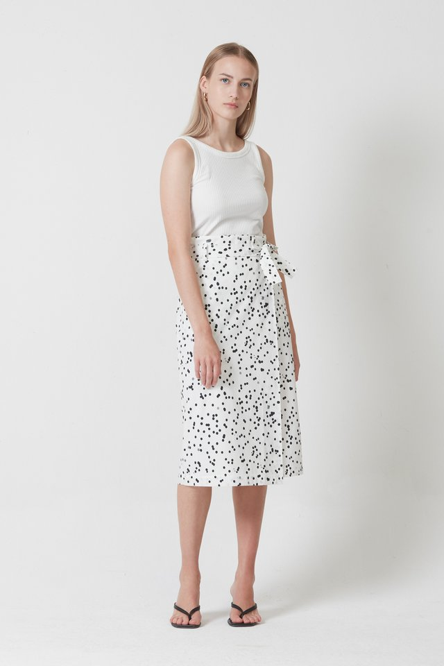 PRINTED SKIRT WITH BELT