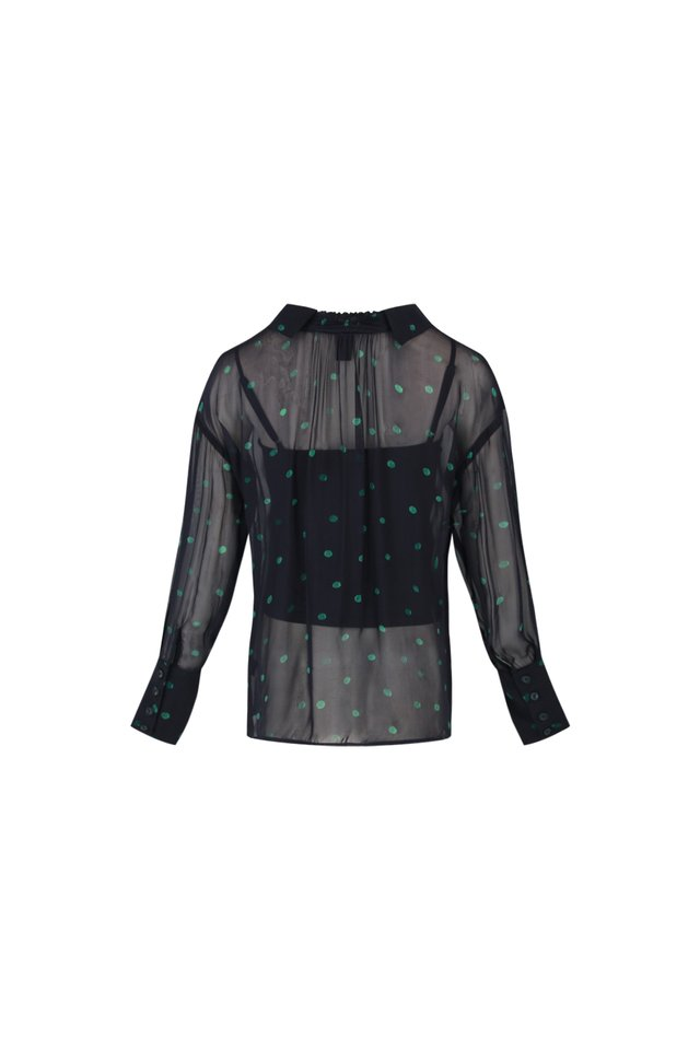 DOTTED LONG SLEEVE BLOUSE WITH INNER PIECE