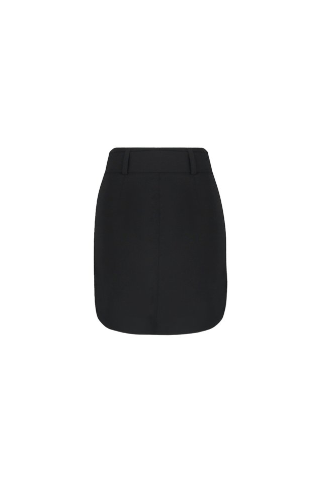 FRONT PATCH POCKET SKIRT WITH BELT