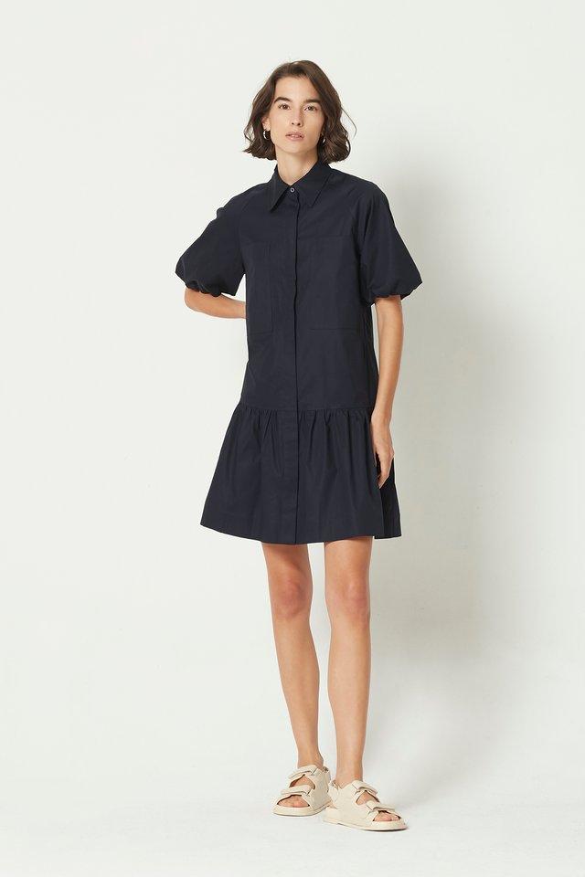 BUBBLE SLEEVE SHIRT DRESS